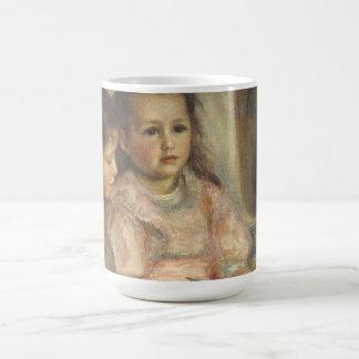 Impresionismo del vintage, retrato de los niños taza clásica