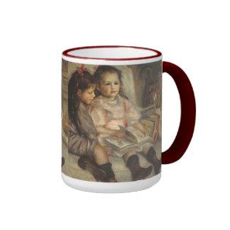 Impresionismo del vintage, retrato de los niños taza de dos colores