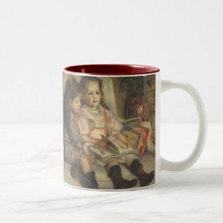 Impresionismo del vintage, retrato de los niños taza de dos tonos