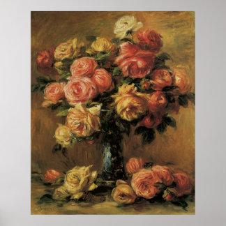 Impresionismo del vintage, rosas en un florero por póster