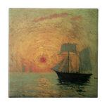 Impresionismo del vintage, Sun rojo de Máximo Azulejo Cuadrado Pequeño