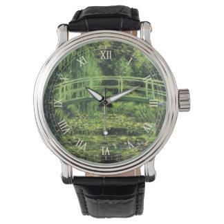 Impresionismo del vintage, Waterlilies blanco de Reloj