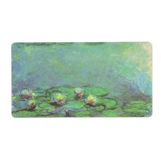 Impresionismo floral del vintage, Waterlilies de Etiquetas De Envío