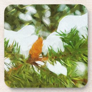 Impresionismo nevado del extracto del pino posavasos de bebidas