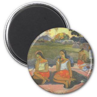 Impresionismo por Gauguin, somnolencia deliciosa Imán Redondo 5 Cm