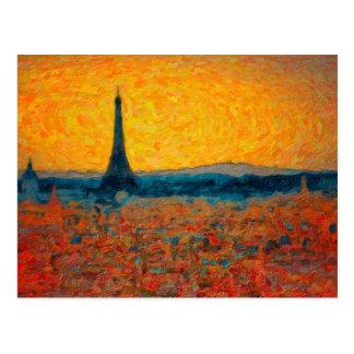 Impresionismo primario de la puesta del sol de Par Postales