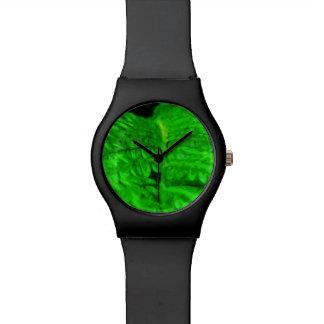 Impresionismo verde del extracto del helecho relojes de pulsera