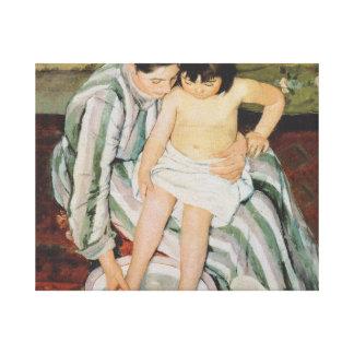 Impresionista del baño del niño de Mary Cassatt Lienzo Envuelto Para Galerias