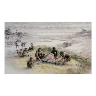Impression of a camp occupied by Homo habilis Poster