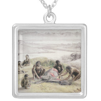 Impression of a camp occupied by Homo habilis Silver Plated Necklace