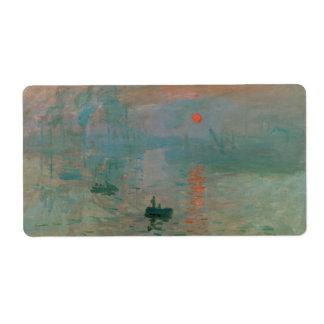 Impression, Soleil Levant by Claude Monet 1872 Label