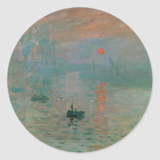 Impression, Soleil Levant by Claude Monet 1872 Round Stickers