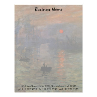 Impression Sunrise by Claude Monet, Vintage Art Letterhead