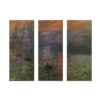 Impression Sunrise by Monet Vintage Impressionism Stretched Canvas Print