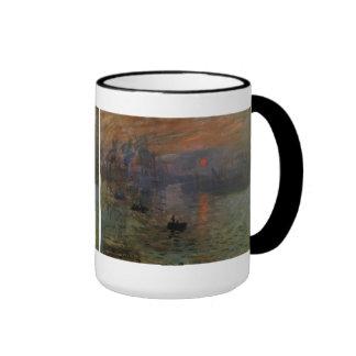 Impression, Sunrise by Monet Vintage Impressionism Ringer Coffee Mug
