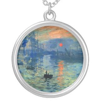 Impression Sunrise, Soleil Levant, Claude Monet Silver Plated Necklace