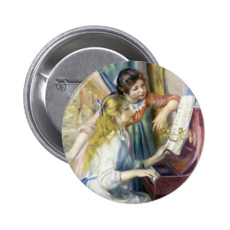 Impressionism Art, Young Girls at Piano by Renoir 2 Inch Round Button