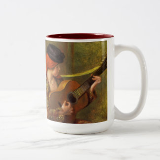 Impressionism Art, Young Spanish Woman by Renoir Two-Tone Coffee Mug