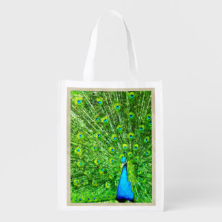 Impressionism Green and Blue Peacock Grocery Bag
