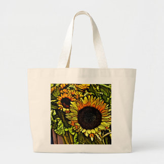 impressionism painting country yellow sunflower large tote bag