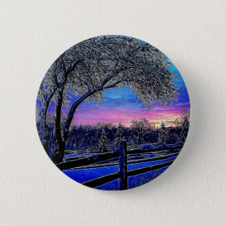 impressionism sunrise landscape winter trees button