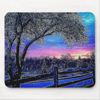 impressionism sunrise landscape winter trees mouse pad