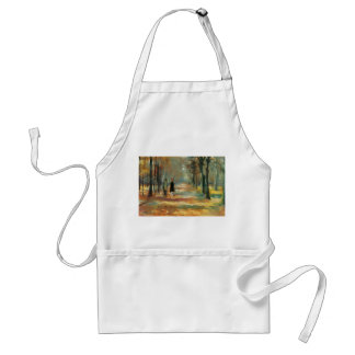 Impressionist art by Ury couple walking in woods Adult Apron