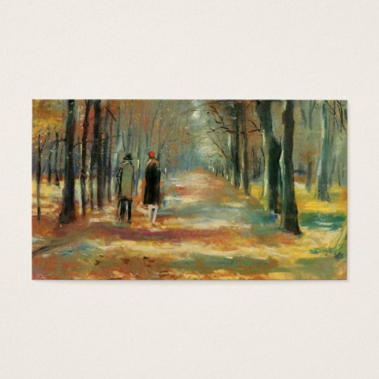 Impressionist art by Ury couple walking in woods Business Card