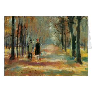 Impressionist art by Ury couple walking in woods Card
