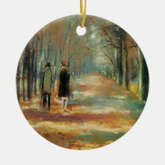 Impressionist art by Ury couple walking in woods Ceramic Ornament