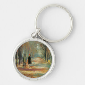 Impressionist art by Ury couple walking in woods Key Chain