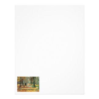 Impressionist art by Ury couple walking in woods Letterhead
