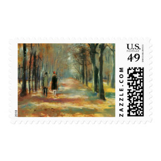 Impressionist art by Ury couple walking in woods Postage