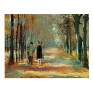 Impressionist art by Ury couple walking in woods Postcard