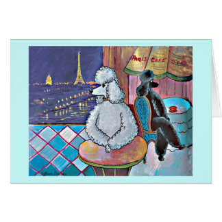 Impressionist Art Poodles Paris Cafe Card