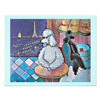 Impressionist Art Poodles Paris Cafe Postcard Custom Announcements