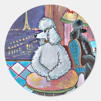 Impressionist Art Poodles Paris Cafe Stickers Tags
