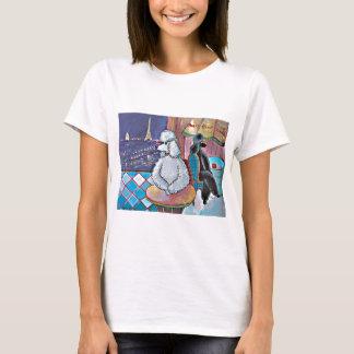 Impressionist Art Poodles Paris Cafe Tee Shirt