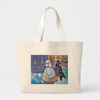 Impressionist Art Poodles Paris Cafe Tote Bag