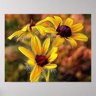 Impressionist Black Eyed Susan FlowersThis Poster