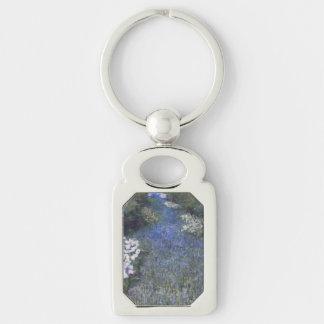 Impressionist Blue Forest Path Keychain