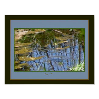 Impressionist Blue Pond Reflections 2 Photo Poster
