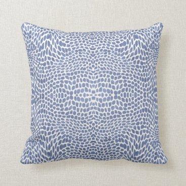 Beach Themed Impressionist Blue White Ocean Wave Swirl Pattern Throw Pillow