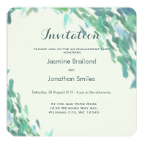 Impressionist brush strokes sea modern wedding card