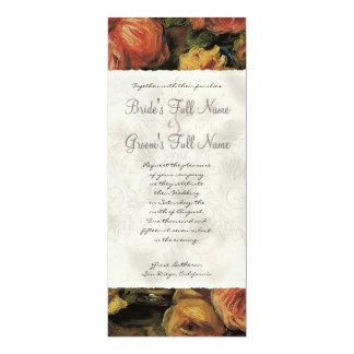 Impressionist Coral n Yellow Rose - Wedding Invite