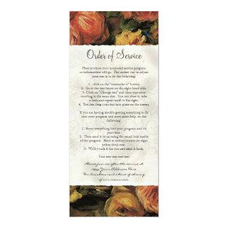 Impressionist Coral Yellow Rose 2 Life Celebration 4x9.25 Paper Invitation Card