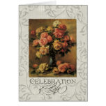 Impressionist Coral Yellow Rose 2 Memorial Service Greeting Card