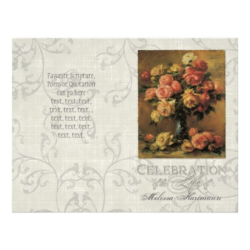 Impressionist Coral Yellow Rose 2 Memorial Service Flyer Design