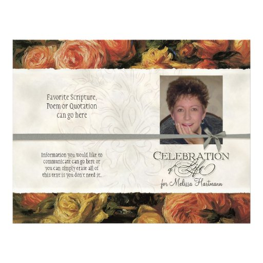 Impressionist Coral Yellow Rose 2 Memorial Service Custom Flyer