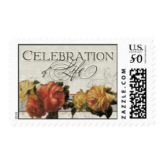 Impressionist Coral Yellow Rose Celebration LIfe Postage